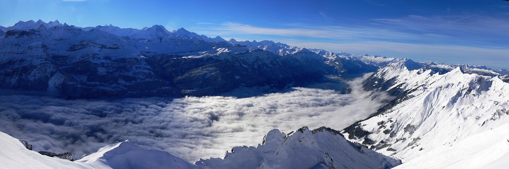 Alpen, Berge, Winter, Panorama, Schnee