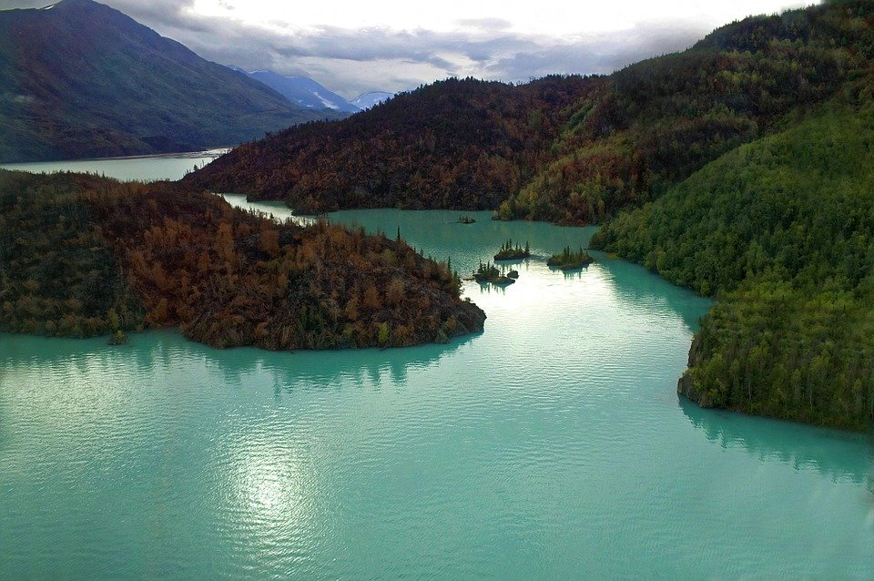 Free photo aerial landscape river mountains free for Free land in alaska