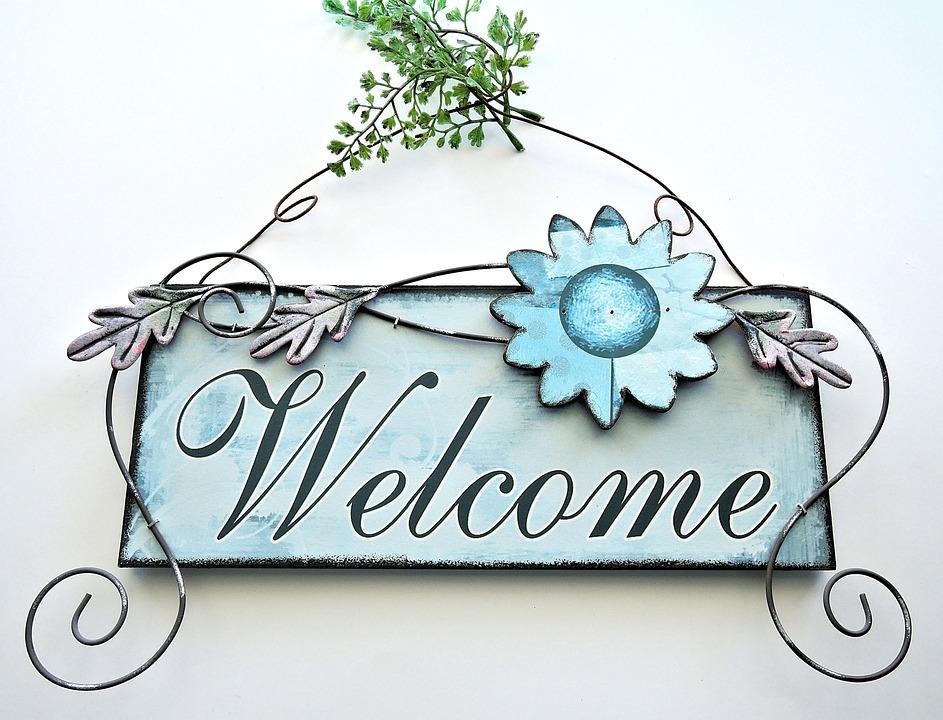 Free Photo: Welcome Door Art, Metalic, Painted