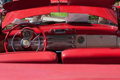 車内, レトロ, クラシックカー, 車, インテリア, ビンテージ, 古典的な