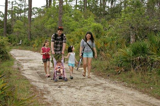 家族, 母, 父, 子供, 自然観察の散歩, 幸せな家族, 家族で楽しむ