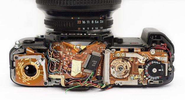 Câmera, Interior, Mecânica, Técnico