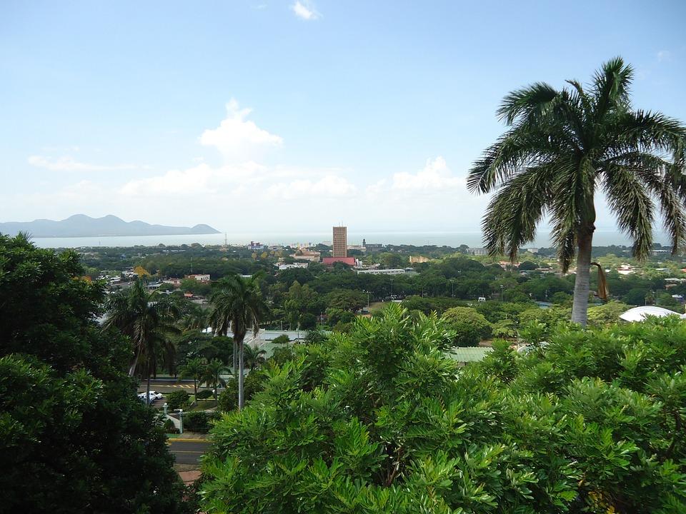 Managua, Panoramique, Lac, Ville, Horizon, Nicaragua