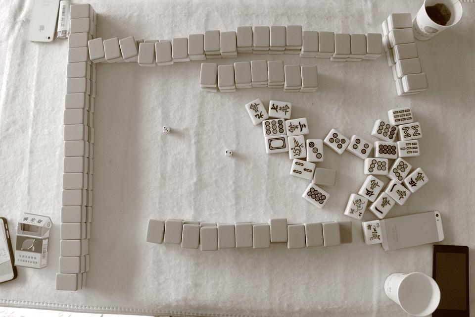 Mahjong, San Queyi, Black And White, Game, Sign, Gane