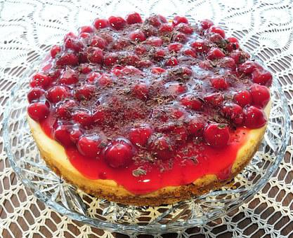 Cherry Cheese Cake, Cookie Base, Food