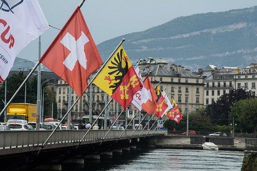 フラグ, スイス, ジュネーブ, フラッター, 旗の棒, 水