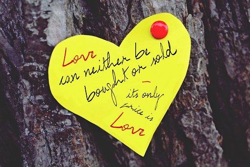 愛, と言って, 引用, 英語, 心, 装飾, 賢い, 紙, 木, 自然, デコ