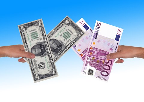 ユーロ, Dollar, 手, 維持, 為替レート, 為替, スイッチ, 金融