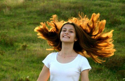 Girl, Portrait, Long Hair, Play, Autumn