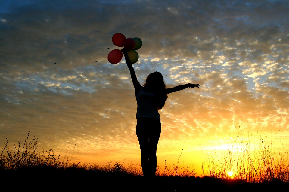 Girl, Sunset, Balloons, Sun, Sky Clouds, Silhouette