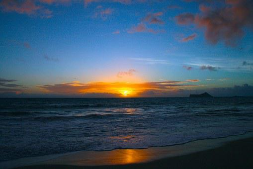 Sunrise Hawaii Ocean Sea Seascape Beach Ha