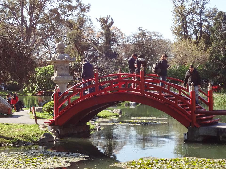 Red Bridge Garden Lake Japanese Garden Buenos Aires