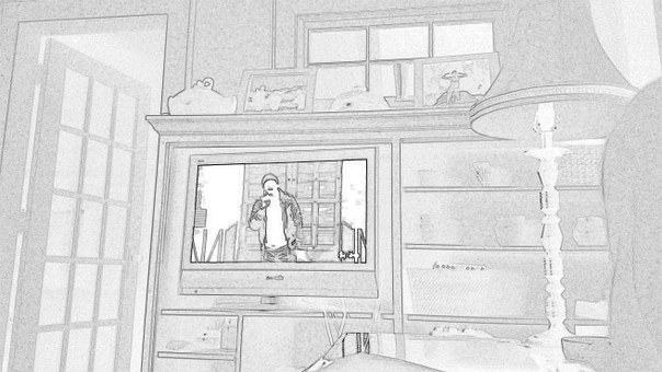 Sketch, Tv, Room, Living Room, Tv Set