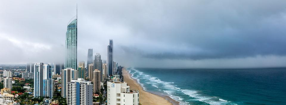 Panoramic Landscape, Clouds, Rain, High-Rise, Ocean