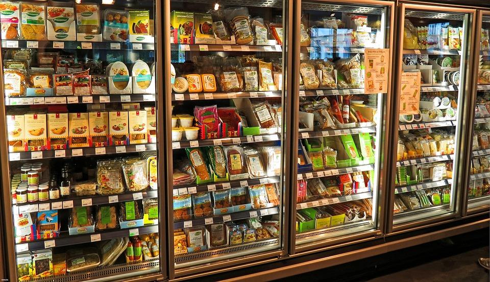 スーパーマーケット、冷蔵庫、農産物、食品、市場、小売