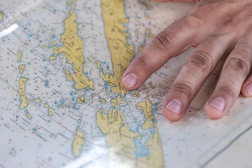 Map, Sail, Sailor, Hand, Finger, Travel