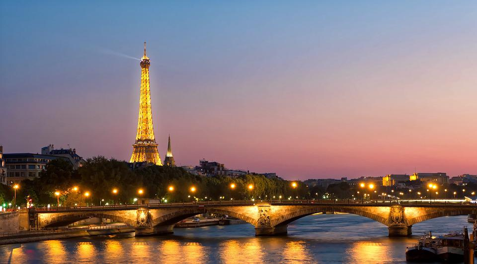 Eiffel Tower, France, Sunset, City At Night, Night