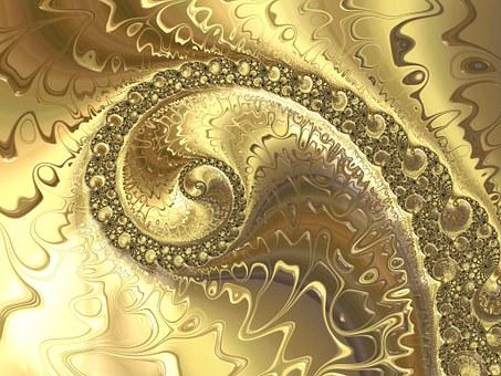 Fractal, Golden, Background, Aesthetic