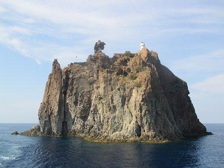 หิน, ทะเล, เกาะ, Strombollicchio, หน้าผา