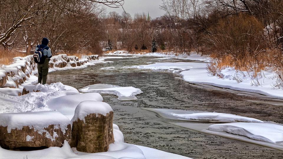 Winter Fishing, Fishing, Snowbank, Winter, Snow
