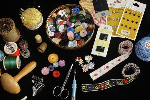 裁縫, ボタン, 縫う, スレッド, 針仕事, 手作り, 針, はさみ