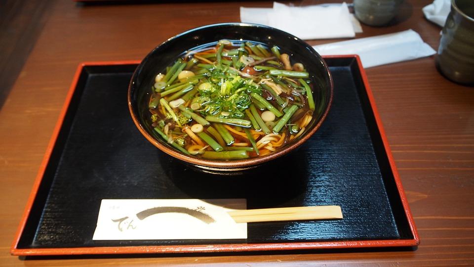 日本, そば, 食事, ワイルド, 野菜, トレイ, 介護, ランチ, ディナー, 箸, サーフェス