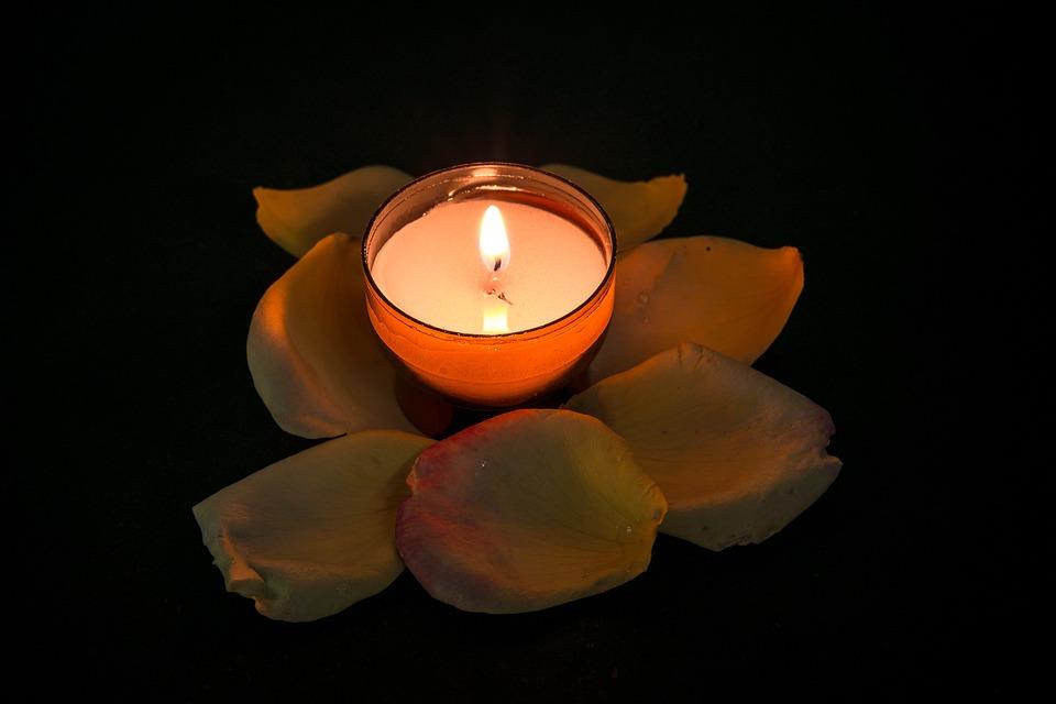 キャンドル, バラ, ティーライト, 静かな, めい想的な, 残り, 祈り, セキュリティ, キャンドルライト