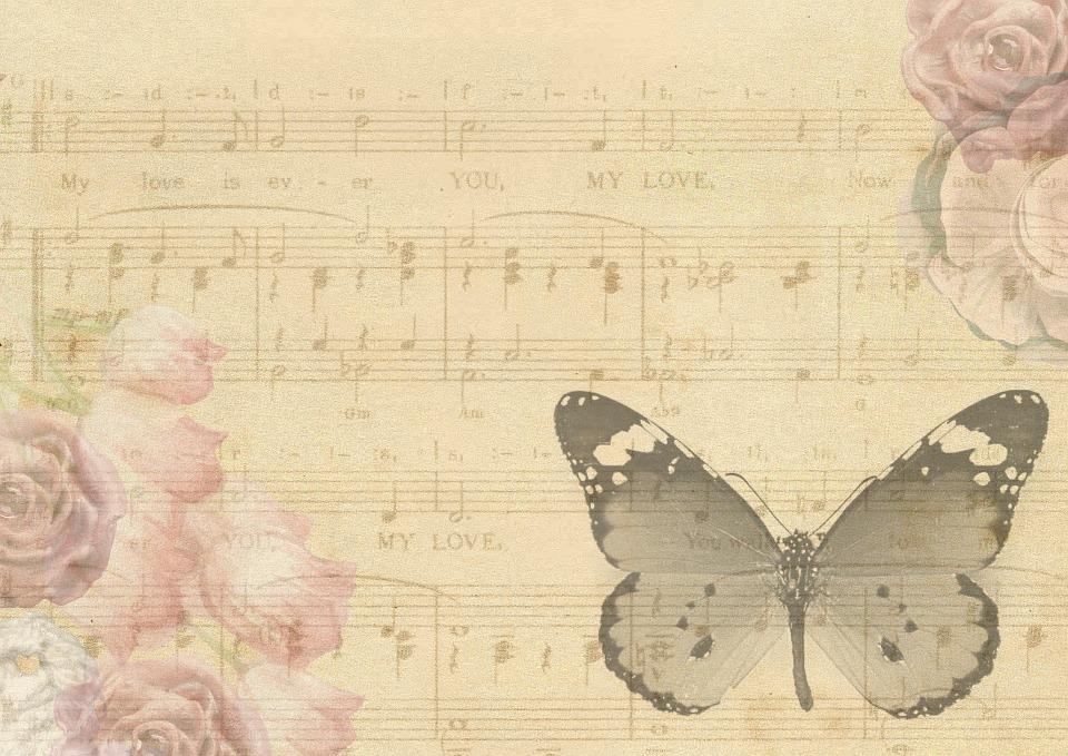Custom note paper vintage music