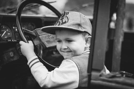 少年, 子, 幸福, 軍事, 自動, ステアリング ホイール, ドライバー