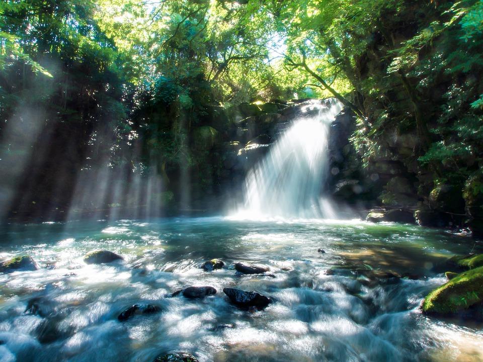 Japonia, Kumamoto, Mały Kraj, Wodospad, Światło, Wody