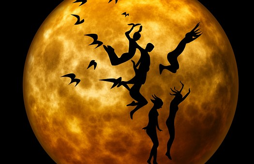 Human, Moon, Moonlight, Gymnastics, Jump