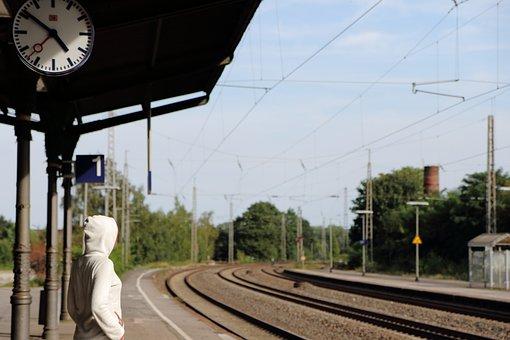 Bahnhof, Abfahrt, Zug, Bahnsteig