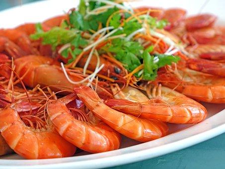 Prawns, Steamed, Seafood, Restaurant