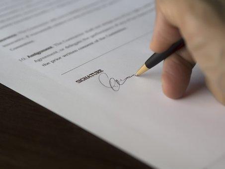 Forretning, Underskrift, Kontrakt