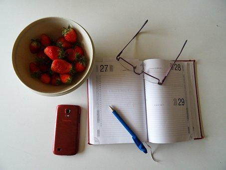 Aardbeien, Bril, Stylo, Agenda, Werk