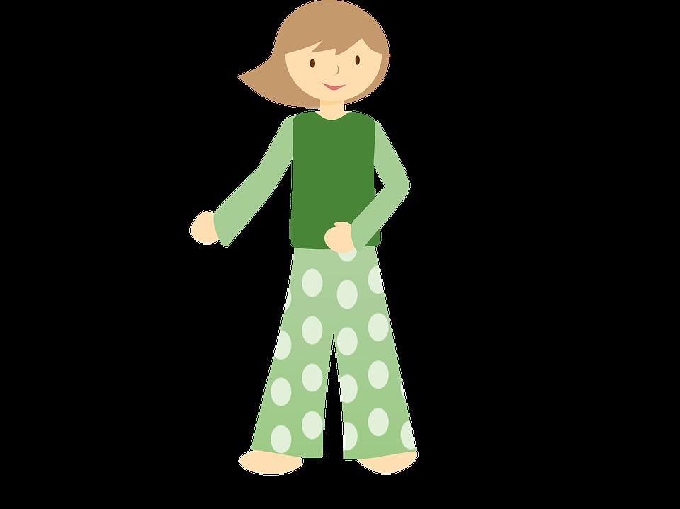 Niña, Niño, De Pie, Pjs, Pijama