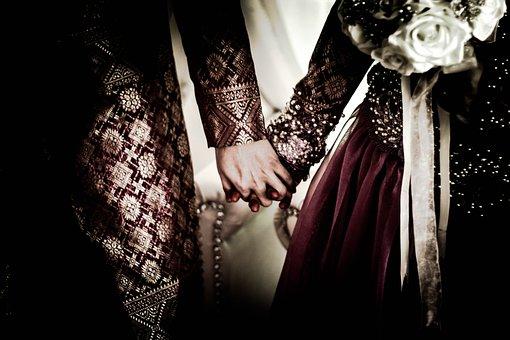 Wedding, Holding Hands, People, Couple