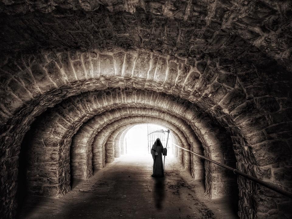 トンネル, 通路, 地下道, 光, 神秘的な, 気分, 死, 死神, ハロウィーン