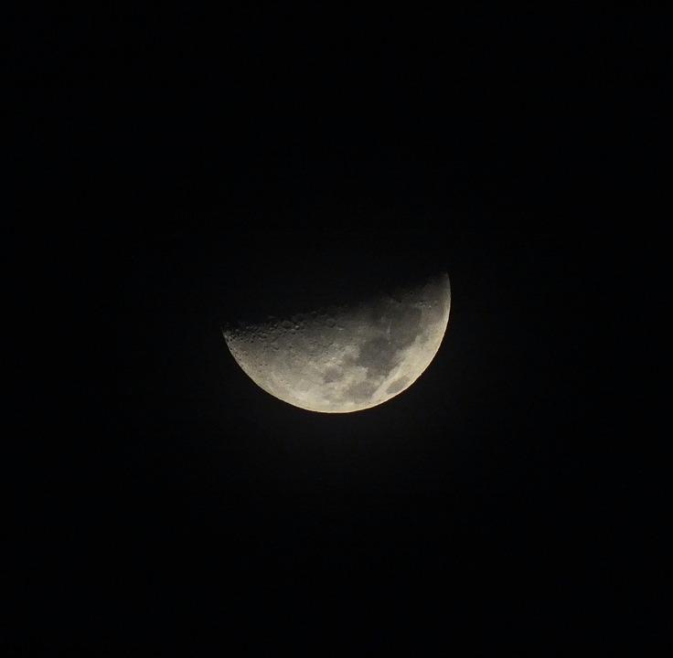 Luna Cuarto Creciente Noche · Foto gratis en Pixabay