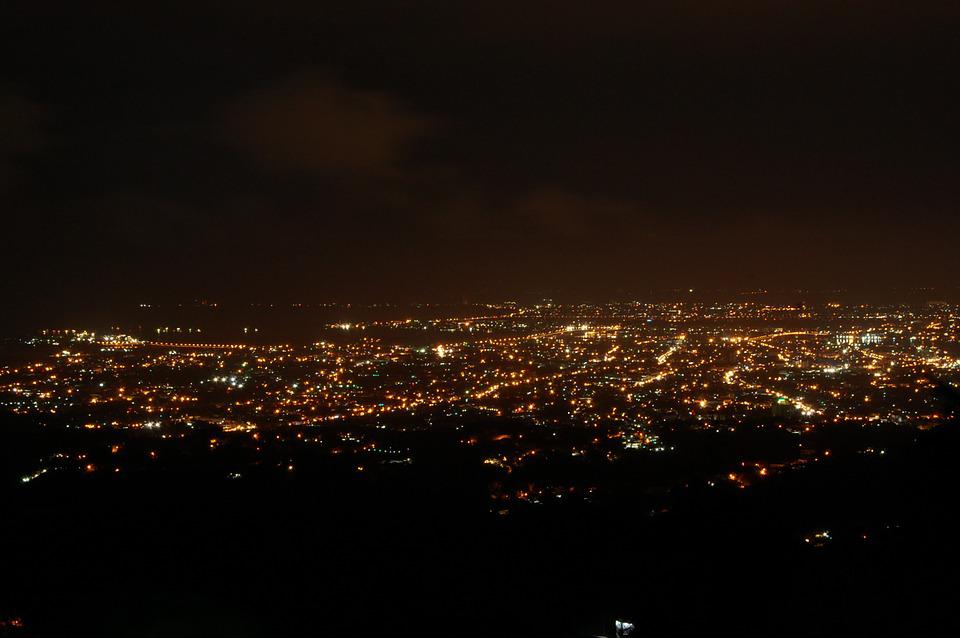 City Lights View On Top Night Scene