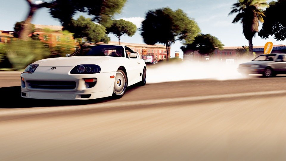 Toyota Supra Car Above Drift Smoke Video Game  C B Public Domain