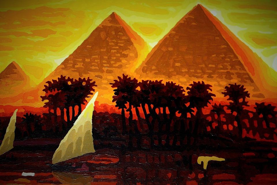 Free Photo Pyramids Painted Egypt Painting Free Image On Pixabay 967228
