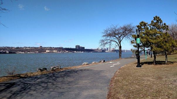 川沿いの公園, ニューヨーク市, 春, 旅行, 都市, プロムナード
