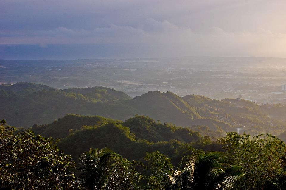 Montagnes, Vert, Lever Du Soleil, Cebu, Philippines