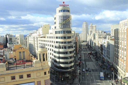 Vista panorámica de Gran Vía Madrid