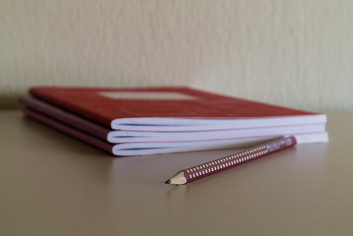 Pencil, Notebook, Desk, School