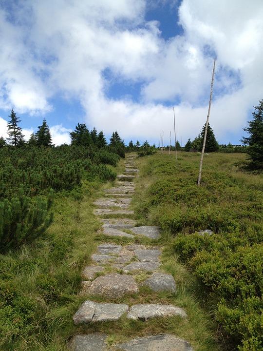 Giant Mountains, Path, Gunung, Pemandangan, Alam
