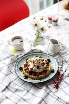 Waffle, Tea Time, Dessert, Waffle