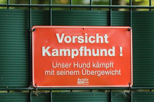 Schild, Hund, Vorsicht, Kampfhund, Humor