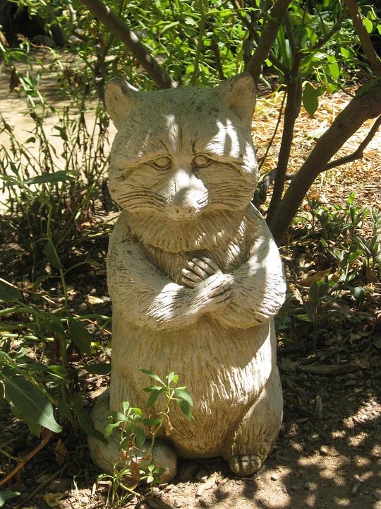 Garden Sculpture Raccoon Fox Forest Park Summer